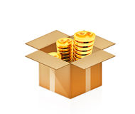 Gold dollar coins in cardboard box. On white Stock Illustration