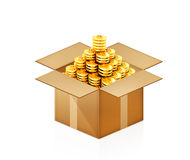 Gold dollar coins in cardboard box. On white Vector Illustration