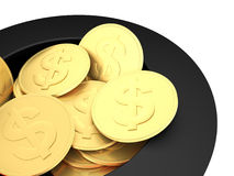 Gold dollar coins close up. 3d illustration of gold dollar coins inside a magician's hat. Concept about business and instant money making Stock Illustration