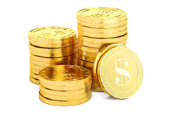 Gold dollar coins, 3D rendering. On white background Royalty Free Illustration