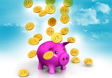 Gold dollar coins falling. Into a pink piggy bank Vector Illustration