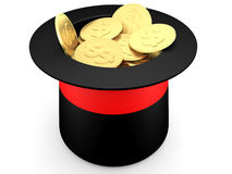 Gold dollar coins inside a magician's hat Stock Photos