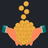 Gold dollar coins, money falling into the hands. Profit, increase wealth. Payment is in cash Vector Illustration