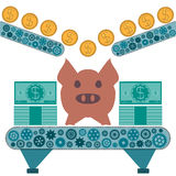 Gold dollar coins are rolling to a pig piggy Bank. Stock Images