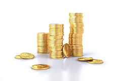 Gold dollar coins stacks and a few lose. Royalty Free Stock Photos