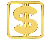 Gold dollar currency symbol on white background. 3d illustration. Gold dollar currency symbol on white background Royalty Free Stock Photo