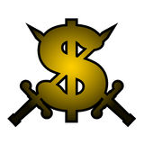 Gold dollar emblem Stock Photography