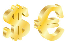 Gold dollar and the euro Royalty Free Stock Photos