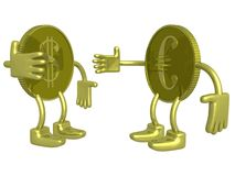 Gold dollar and euro. A coin. 3D image Royalty Free Stock Photography