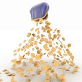 Gold dollar is falling out of the purse Royalty Free Stock Photo