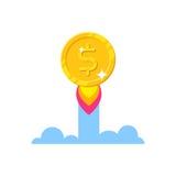 Gold dollar increase cartoon style isolated Stock Photos