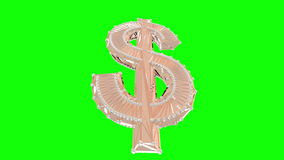 Gold dollar isolated 3d, animation, seamless loop stock video footage