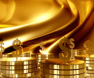 Gold and Dollar money currency icon. Symbol luxury background Stock Image