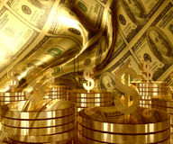 Gold and Dollar money currency icon. Symbol luxury background Stock Photos