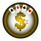 Gold dollar poker Royalty Free Stock Photography
