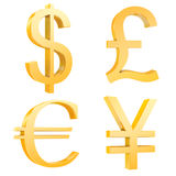 Gold dollar,pound,euro,yuan signs. Isolated on a white background.3d render.also with clipping paths Royalty Free Stock Photography