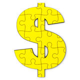 Gold dollar puzzle Stock Photo
