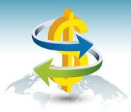 Gold dollar sign with arrow. Illustration of gold dollar sign with arrow on globe Royalty Free Stock Photography