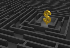 Gold Dollar Sign At Center Of Dark Maze Stock Photography