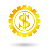 Gold dollar sign. Currency sign america, gold dollar sign, gear mechanism Stock Photo