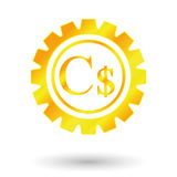 Gold dollar sign. Currency sign canada, gold dollar sign, gear mechanism Royalty Free Stock Images
