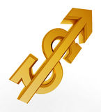 Gold dollar sign of the growing Royalty Free Stock Photography