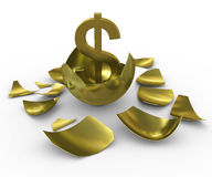Gold dollar sign hatched from eggs of gold Stock Photos
