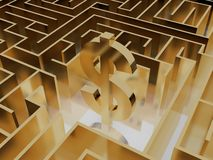 Gold dollar sign in the middle of a mysterious maze Stock Images