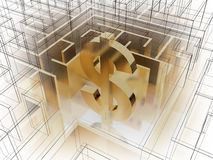 Gold dollar sign in the middle of a mysterious maze. Concept Royalty Free Stock Image