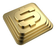 Gold dollar sign on a pedestal 3d rendering Royalty Free Stock Photos