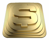 Gold dollar sign on a pedestal 3d rendering Royalty Free Stock Photo
