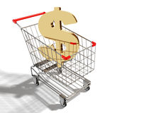 Gold dollar sign. In the supermarket cart Stock Photo