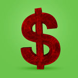 Gold Dollar sign on white background Royalty Free Stock Image