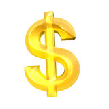 Gold Dollar sign on white background.  royalty free stock image