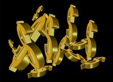 Gold dollar signs. In 3d on black background Stock Photography
