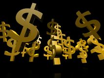 Gold dollar symbol. 3d US currency in gold colors Stock Photo