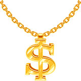Gold dollar symbol on golden chain vector hip hop rap style necklace. American money and financial luxury illustration Royalty Free Stock Photography