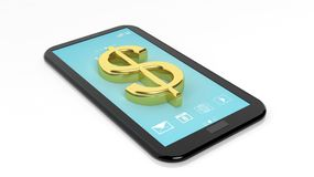 Gold Dollar symbol on tablet Stock Images