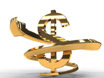 Gold Dollar With Golden Arrow Isolated 2 Royalty Free Stock Image