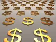 Gold Dollars. The Gold Dollars symbolizes business and can be used by designers at creation of such themes as business, the finance, auctions, corporations Stock Photos