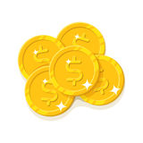 Gold dollars coins cartoon style isolated Royalty Free Stock Image