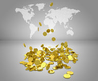 Gold dollars fall to floor Stock Photo