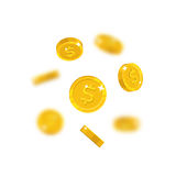 Gold dollars flying cartoon isolated Royalty Free Stock Image