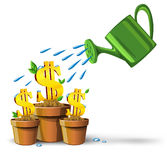 Gold dollars money growing in pots Royalty Free Stock Image