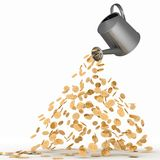 Gold Dollars Poured From A Watering Can Royalty Free Stock Photos