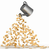 Gold dollars poured from a watering can. 3d illustration Stock Image