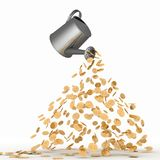 Gold dollars poured from a watering can Stock Photography
