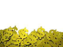 Gold dollars signs background. Many gold dollars signs on white background Royalty Free Stock Photo