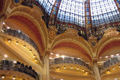 Gold Dome. Golden dome with balcon in Galleries Lafayette Stock Image