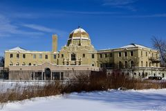 Gold Dome Building. This is a Winter picture of the iconic Gold Dome Building, in a bed of snow, today it is known as the Garfield Park Fieldhouse, located in royalty free stock images